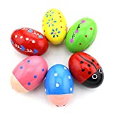 HAZOULEN Set of 6 Wooden Percussion Musical Egg Maracas Egg Shakers