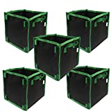 Gardening Square 7-Gallon 5-Pack Grow Bags /Pots With Handle for Tomatoes and Plants