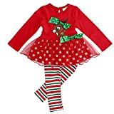 Christmas Outfits for Baby Girls Tutu Dress Tshirt with Striped Pant Clothing Set (2-3 Year, Reindeer)