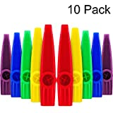Blulu Plastic Kazoos Musical Instruments with Kazoo Flute Diaphragms for Gift, Prize and Party Favors, 5 Colors (10 Pieces)