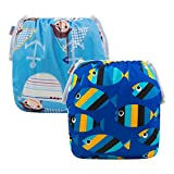 ALVABABY Boys and Girls Swim Diapers 2pcs One Size Reuseable Adjustable 0-24 mo.SW03-04