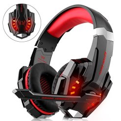 Gaming Headset for Xbox One, PS4, PC Controller, DIZA100 Noise Cancelling Over Ear Headphones with Mic, LED Light, Bass Surround for Laptop Mac Nintendo Switch Games … (Red)
