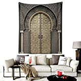 Custom Pattern Voodoo Tapestry,Aged Gate Moroccan Geometric Pattern Doorway Design Entrance Architectural,Headboard Wall Hanging Home Decor,36W X 48L Inches Gray Beige