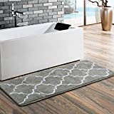 Uphome Trellis Moroccan Extra Long Bathroom Rug, Microfiber Washable Non-Slip Soft Quatrefoil Tufted Decorative Bath Runner Kitchen Floor Mat Carpet (18' W x 48' L, Grey)