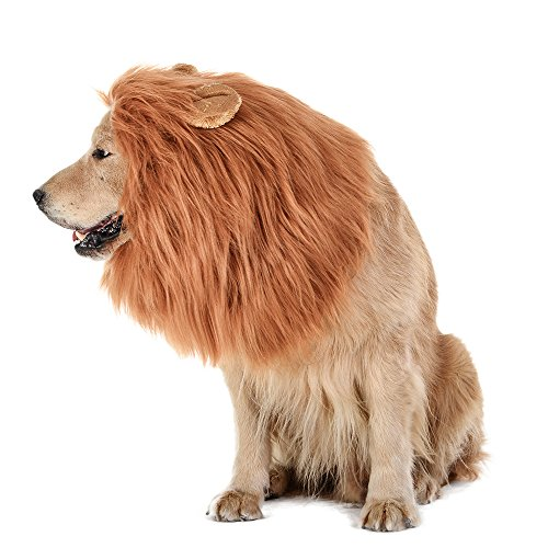 TOMSENN Dog Lion Mane - Realistic & Funny Lion Mane for Dogs - Complementary Lion Mane for Dog Costumes - Lion Wig for Medium to Large Sized Dogs Lion Mane Wig for Dogs 1