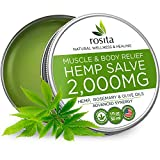 Pain Relief Hemp Oil Salve - 2000 MG - Max Strength & Efficiency - 100% Natural Ointment - Hemp Extract for Knee, Joint & Back Pain - Made in USA - Hemp Balm for Inflammation & Sore Muscles