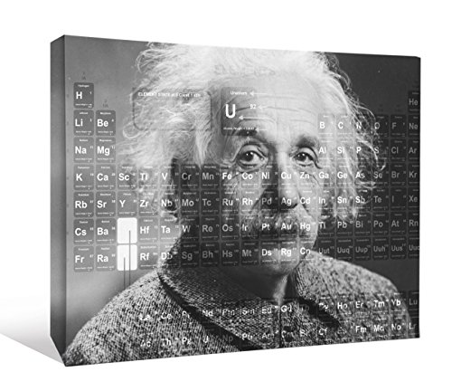 JP London SCNV2546 2' Thick Heavyweight Gallery Wrap Canvas, Einstein Periodic Table Science Nerd At 12' High x 16' Wide