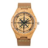 Sentai Men's Compass Wooden Watch, Genuine Cowhide Leather Strap, Handmade Lightweight Natural Wood Wrist Watches with Gift Box (Bamboo Wood)