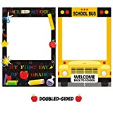 Huray Rayho Back to School Photo Booth Frame Welcome First Day of School Selfie Photo Props for New School Year Classroom Decorations School Bus Cutout Frame