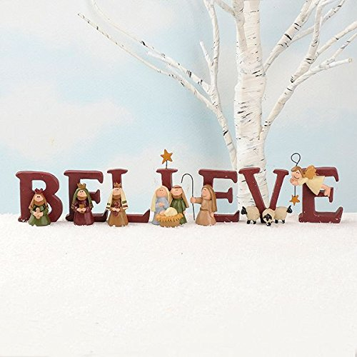 B-E-L-I-E-V-E Nativity Resin Christmas Decoration Set of 7 Letters - Size 1.75 in Tall