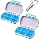Moisture Proof Travel Pill Organizer Holder, Qtimal 2 Pack Portable Pill Box Case, 6 Separate Compartments for Medication and Supplements, Bonus 1 Airtight Keychain Pill Container