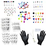 BOPREINA 126pcs Body Piercing Kit 14G,16G,20G for Ear,Eyebrow,Nipple,Lip,Belly Button,Tongue,Nose Body Jewelry(Needles, Gloves and Tools Mixed)