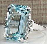 siamsmilethailand 6.35ct Fashion Woman Jewelry Aquamarine 925 Silver Wedding Bridal Ring Size 6-10 (8)