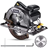Professional Circular Saw TECCPO 10Amp Lightweight 7-1/4' 5800 RPM Saw with Scale Ruler, 24T Circular Saw Blade, No Laser Guide, Max Cutting Depth 2-7/16' (90°), 1-13/16' (0°-45°) - TACS22P