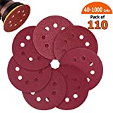 Sandpaper, 110pcs Sand Paper Variety Pack, 5 Inch Hook and Loop Sanding Discs for Wood Furniture Finishing, Metal Sanding, Automotive Polishing, 40 60 80 100 120 240 320 400 600 800 1000 Grits