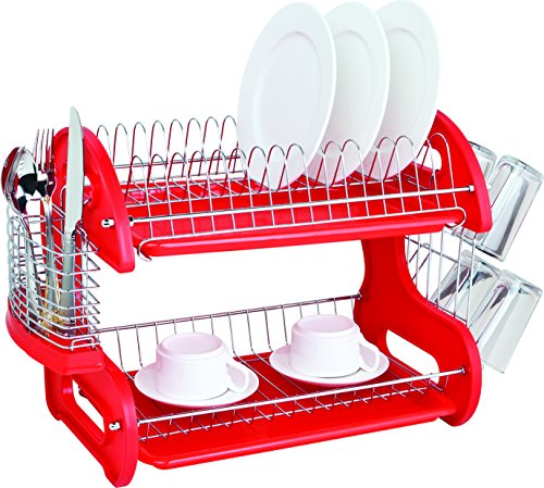 Home Basics DD10248 2-Tier Dish Plastic Drainer, 17.5in x 10.5in x 7in, Red