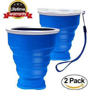 2 pcs Tazas de Silicona Plegable, Copa de viaje plegable, 230 ml Grado de comida Copa plegable de Taza de café Portable del viaje Para senderismo Cámping Deportes al aire libre Tapa caliente incluida 4