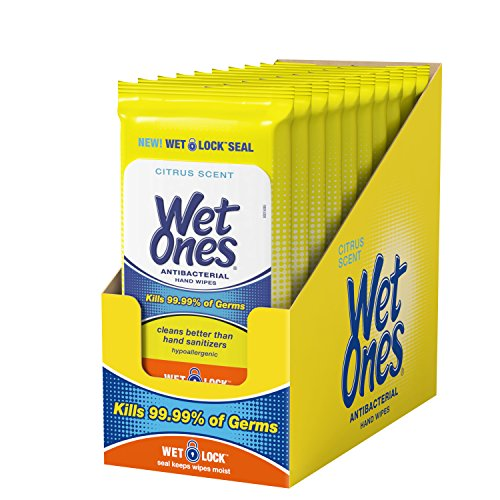 Wet Ones Citrus Antibacterial Hand Wipes, 20 Count (Pack Of 10)