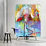 Americanflat Crane Shower Curtain by by Richard Wallich, 74' x 71' x 0.1'