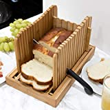 1st Place Products Premium Bamboo Bread Slicer - Adjustable to your Bread Size - 4 Bread Width Slice Sizes - Compact & Foldable