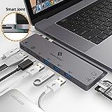 SmartDelux USB C Hub Adapter - 8-in-1 USB-C Hub for MacBook Pro 2016/2018 13'&15' - Thunderbolt 3, 4K HDMI Port, USB-C Port, 3 USB 3.0 Ports, SD & Micro SD Card Readers - USB-C-Hub & Case