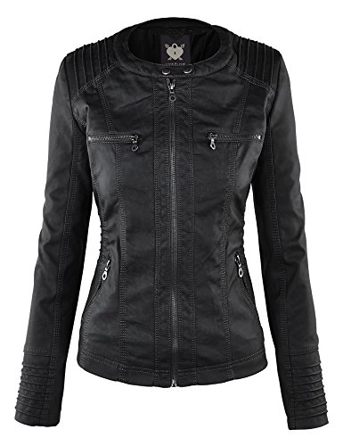 Lock and Love Women's Hooded Faux Leather Moto Biker Jacket (XS~2XL) 4 Fashion Online Shop gifts for her gifts for him womens full figure