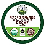 Organic DECAF K Cups - Peak Performance High Altitude Organic DECAF Coffee Pods For High Performance Individuals. Fair Trade Beans Organic Medium Roast K Cup Single Serve Keurig Decaffeinated KCups