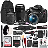 Canon T7 EOS Rebel DSLR Camera with 18-55mm and 75-300mm Lenses Kit with UV Filter Set + 62' Monopod + Power Kit & 64GB SD Card Platinum Bundle