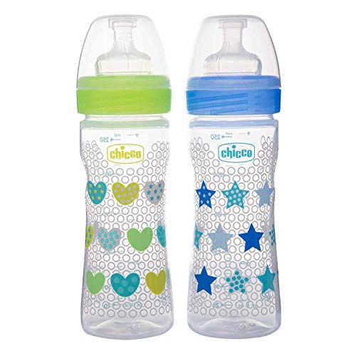 51DvhU7rSrL Chicco Bipack Wellbeing 250 ml Feeding Bottle, Superior Anti-Colic System, Delicate & Hygienic Silicone Teat, BPA Free (1 Blue/1 Inexperienced in a Set)