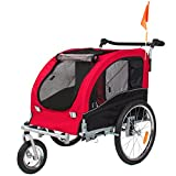 Best Choice Products 2-in-1 Pet Stroller and Trailer w/ Hitch, Suspension, Safety Flag, and Reflectors - Red