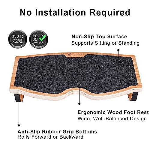 StrongTek Foot Rest Under Desk, Desk Footrest, Rocking Foot Nursing Stool, Rocker Balance Board, Natural Wood, Non-Slip, Ergonomic Pressure Relief for Posture Support, Home, Office Use (18Wx11L)