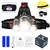 LED Headlamp, Ayasoon Brightest Headlamps Flashlight 18650 Rechargeable Headlight Battery Powered Waterproof 4 Modes Head Lights for Camping Hiking Running, Adjustable Strap, 2 Batteries Included