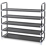 SONGMICS 5 Tiers Shoe Rack Space Saving Shoe Tower Cabinet Storage Organizer Black 39'L Holds 20-25 Pair of Shoes ULSH55H
