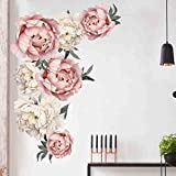 Youmymine 3D ATR Wall Peony Rose Flowers Removable Kids Home Living Room Bedroom Wall Sticker Sofa Background Decorations (Multicolor)