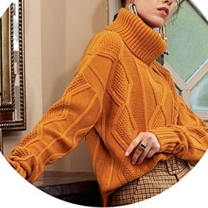 world-palm Retro Twisted Knitted Sweaters Women Casual Turtleneck Sweater Loose Long Sleeve Cashmere Sweater