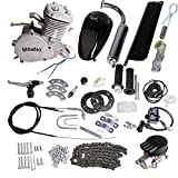 Iglobalbuy 80CC Petrol Gas Motor Bicycle Engine Complete Kit Motorized Bike 2-Stroke (Silver)