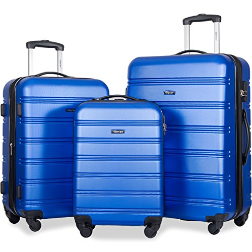 Merax Travelhouse Luggage 3 Piece Expandable Spinner Set Blue