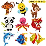 5D DIY 18 PCS Diamond Painting Kits for Kids and Adult Beginners, Stick Paint with Diamonds by Numbers Easy to DIY ,Cute Animals, Sea World