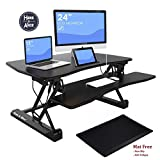 36' Adjustable Height Standing Office Desk with Anti-fatigue Mat | Stand Up Computer Workstation with Keyboard Tray and Free Standing Pad (Table1)