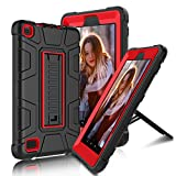 All-New Amazon Fire 7' 2017 Case, Elegant Choise Fire 7th Generation Heavy Duty Shockproof Armor Rugged Protective Case Cover with Kickstand for Amazon Kindle Fire 7 2017 Release (Red/Black)