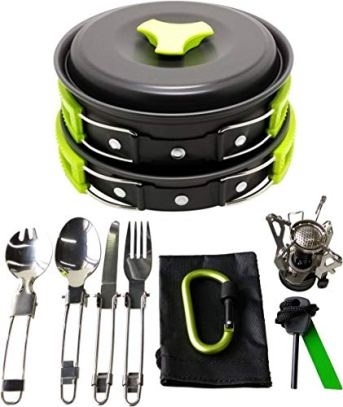 Gold-Armour-17-Pieces-Camping-Cookware-Mess-Kit-Backpacking-Gear-and-Hiking-Outdoors-Bug-Out-Bag-Cooking-Equipment-Cookset-Lightweight-Compact-Durable-Pot-Pan-Bowls-Green