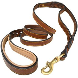 Soft Touch Collars Braided Leather Dog Leash Traffic Handle 19