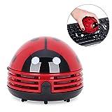 Yesurprise Portable Mini Car Laptop Keyboard Desktop Handheld Vacuum Cleaner Adorable Cartoon Beetle Ladybug Dust Crumb Sweeper Red