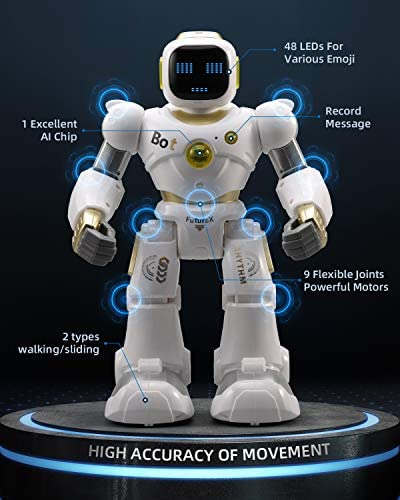 Ruko AI Robots for Kids, Large Programmable RC Robot Toy with APP Control Voice Command Touch Response Bluetooth Speaker Emoji for 3-12 Years Old Boys Girls (Golden) 18