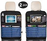 Sleeping Lamb Waterproof Kick Mats Car Seat Back Protectors with Clear 10' Ipad Holder + 4 Storage Pockets Backseat Organizer (2 Pack)