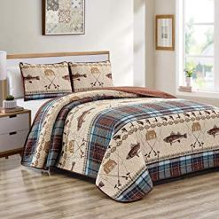 River Fly Fishing Lodge Quilt Set