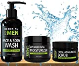 Anti-Aging Daily Skincare for Men - All-In-One Set Gentleman's Grooming Kit - Unclogs Pores - Fights Acne and Prevents Ingrown Hairs - 3 Piece Set