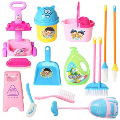 DOLL-SIZE-14-Piece-95-MINI-Cleaning-Cart-Playset-Household-Appliances-Tools-Pretend-Play-Vacuum-Cleaner-Cleaning-Trolley-for-Kids-Cleaning-Supplies-Toys-Broom-Mops-Brushes-Caution-Sign666-86