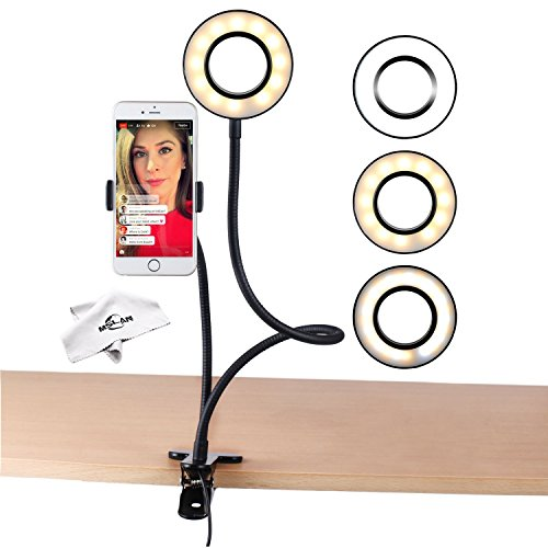 Ring light,MSLAN Cell Phone Holder for Live Stream, Dimmable [3-Light Mode][9-Level Brightness] Clamp on Gooseneck Mount with Selfie Ring Light for Youtube, Facebook, iphone 7,6/plus,Samsung,HUAWEI