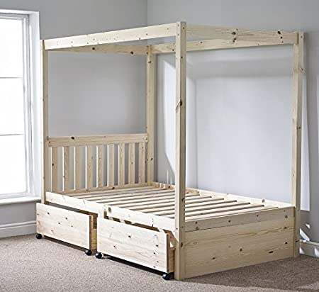 Strictly Beds And Bunks Four Poster Bed Frame With Storage 4ft 6 Double Amazon Co Uk Kitchen Home
